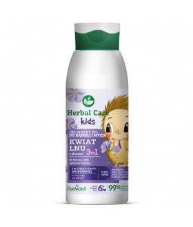 FARMONA HERBAL CARE Kids 3w1 Delikatny żel do kąpieli oraz mycia 400ml kwiat lnu