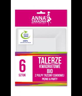 ANNA Talerze kwadratowe BIO z pulpy trzciny cukrowej 6szt. x40 (9111) £1.39 pm